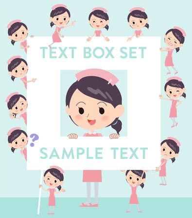 Set of various poses of Nurse pink wear woman text box Illustration