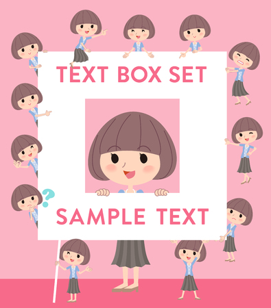 Set of various poses of Pink jacket Middle woman text box Illustration