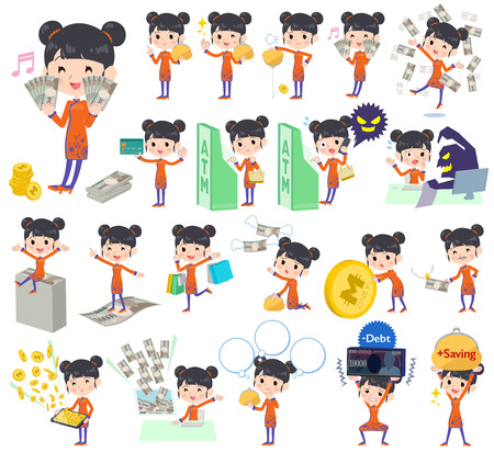 Set of various poses of Chinese ethnic clothing woman money