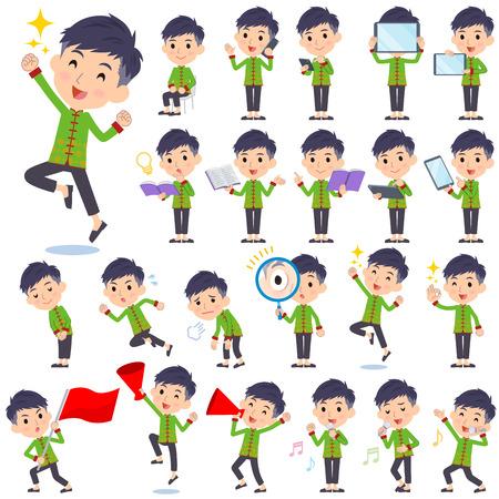 personas corriendo: Conjunto de varias poses de hombre chino ropa étnica 2