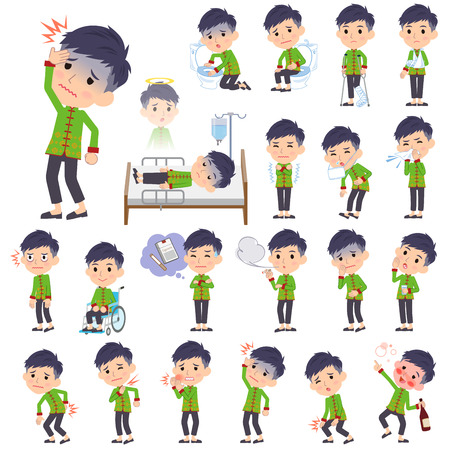 Set of various poses of Chinese ethnic clothing man sickness