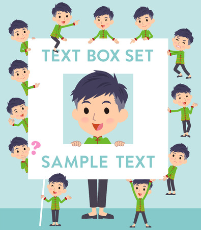 Set of various poses of Chinese ethnic clothing man text box