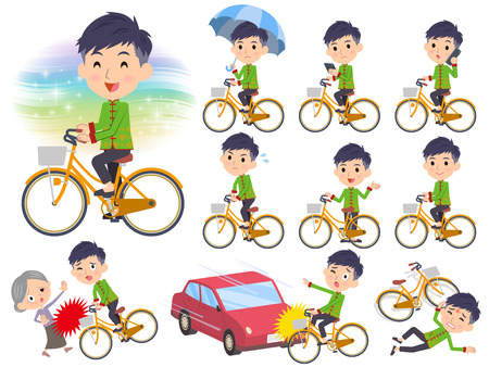set going: Set of various poses of Chinese ethnic clothing man ride on city bicycle Illustration
