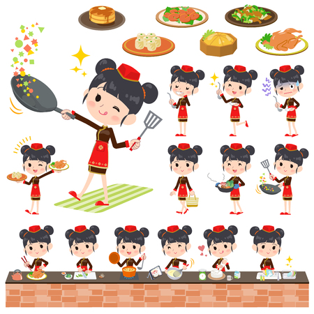 stirring: Set of various poses of Chinese ethnic clothing woman cooking