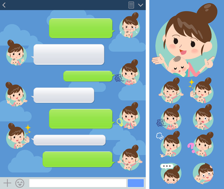 Set of various poses of Mother and baby sns window Illustration
