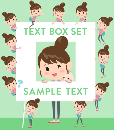 Set of various poses of Mother and baby text box