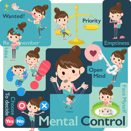 Set of various poses of Mother and baby Mental & volition