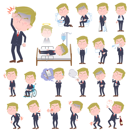 hair mask: Set of various poses of Blond hair suit style Old man sickness Illustration