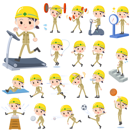 building site: Set of various poses of helmet construction worker woman Sports & exercise.