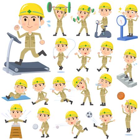 ejercicio aeróbico: Conjunto de varias actitudes de trabajador de la construcción del casco Deportes y ejercicio.
