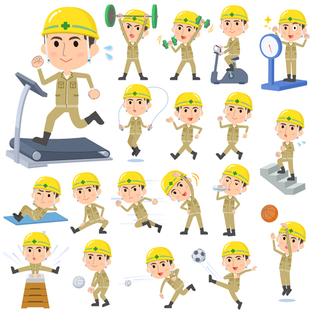 Set of various poses of helmet construction worker Sports & exercise. Illustration