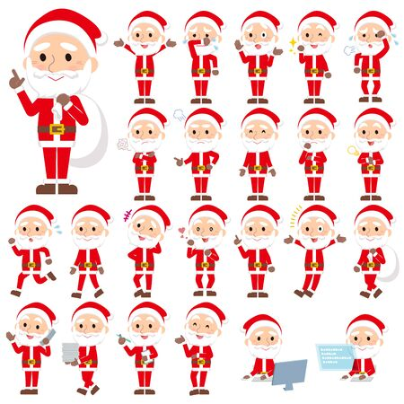 Set of various poses of Santaclaus old man