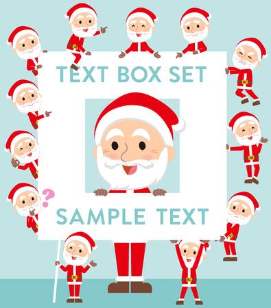 fingering: Set of various poses of Santaclaus old man text box