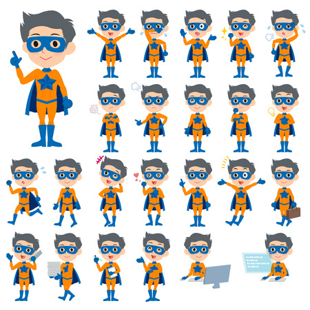 Set of various poses of super hero man orange Blue