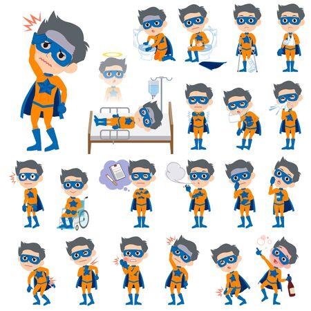 lack: Set of various poses of super hero man orange Blue sickness