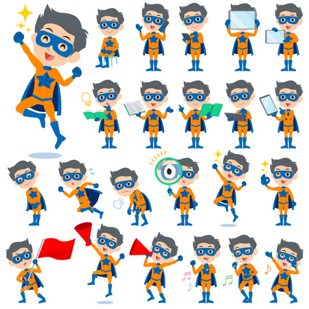 Set of various poses of super hero man orange Blue 2 向量圖像