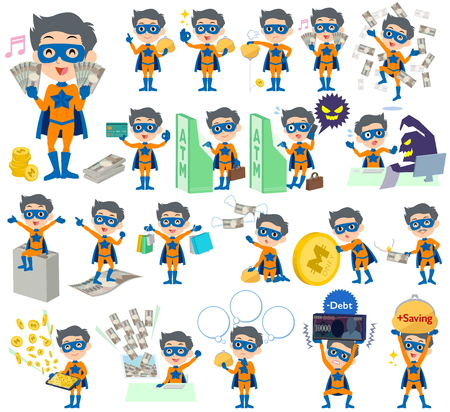 Set of various poses of super hero man orange Blue money