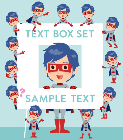 fingering: Set of various poses of super hero man red gray text box