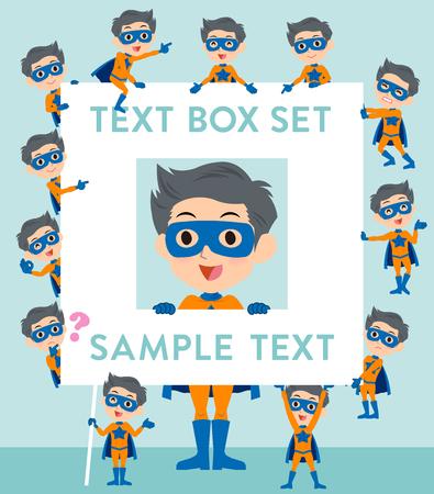 fingering: Set of various poses of super hero man orange Blue text box Illustration
