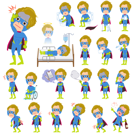 hospitalization: Set of various poses of super hero man Blue Green sickness Illustration