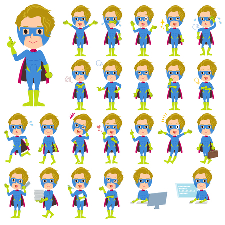 Illustration of cute Set of various poses of super hero man Blue Green