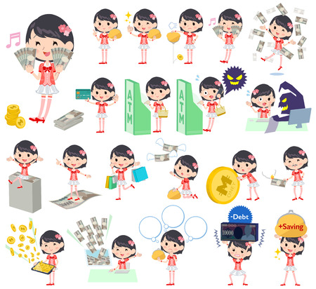 Earning and spending of a girl in various poses Illustration
