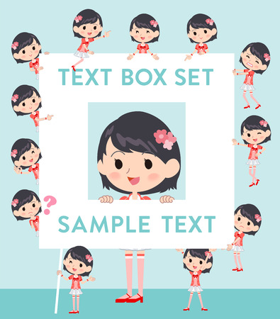 Set of various poses of Pop idol in red costume text box Illustration