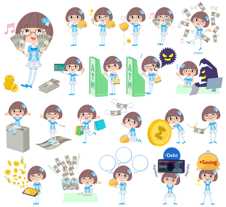 Set of various poses of Pop idol in blue costume money Illustration