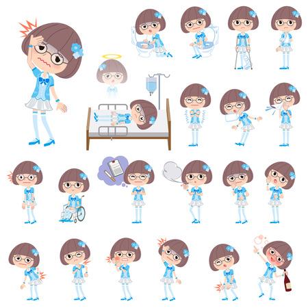 Set of various poses of Pop idol in blue costume sickness