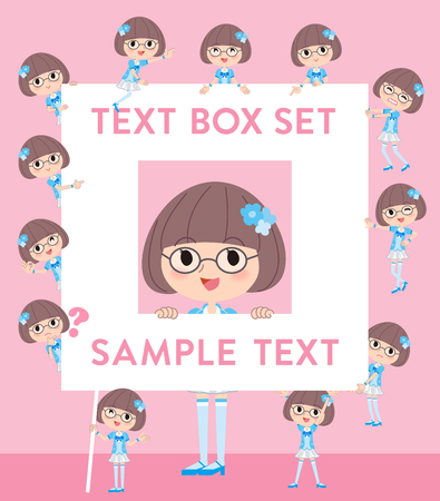 Set of various poses of Pop idol in blue costume text box