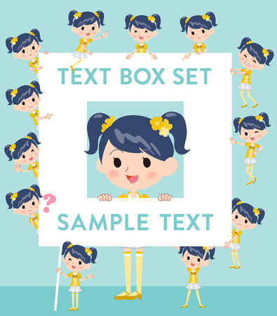Set of various poses of Pop idol in yellow costume text box