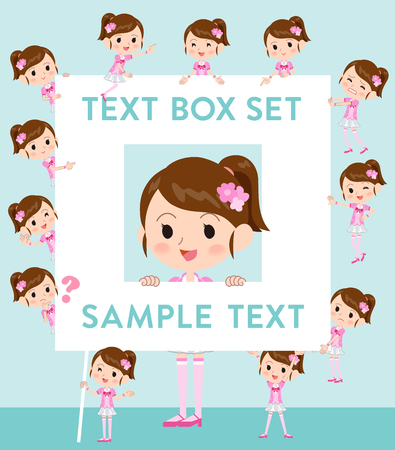Set of various poses of Pop idol in pink costume text box