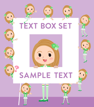 fingering: Set of various poses of Pop idol in green costume text box