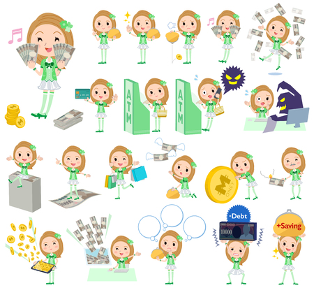 Set of various poses of Pop idol in green costume money Illustration