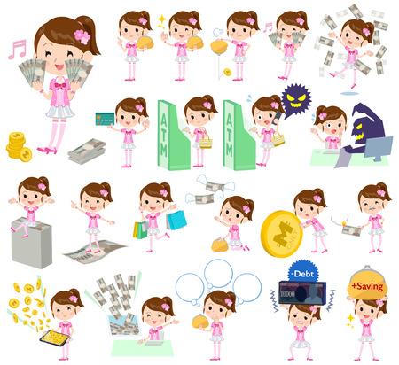 ピンク衣装のお金でポップ アイドルの様々 なポーズのセット