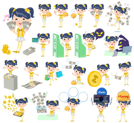 Set of various poses of Pop idol in yellow costume money