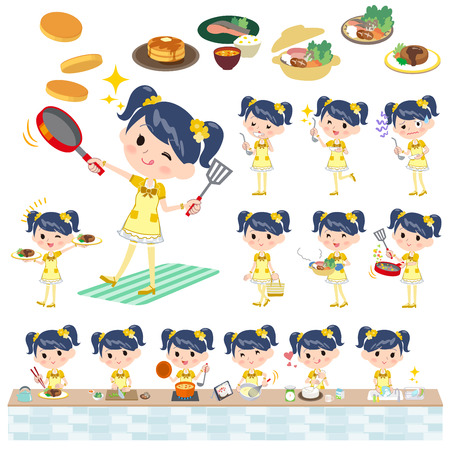 stirring: Set of various poses of Pop idol in yellow costume cooking Illustration