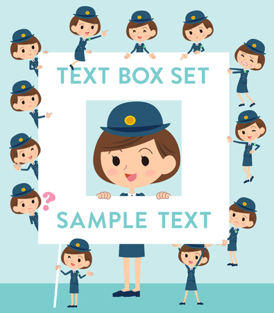 Set of various poses of police Woman text box
