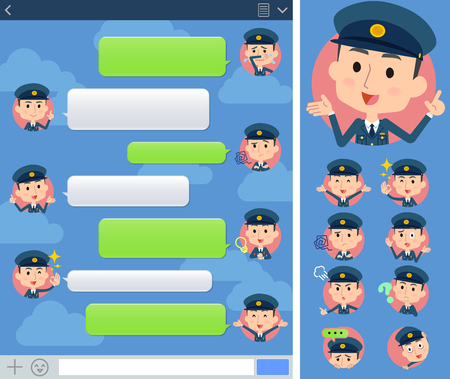 sns: Set of various poses of police man sns window