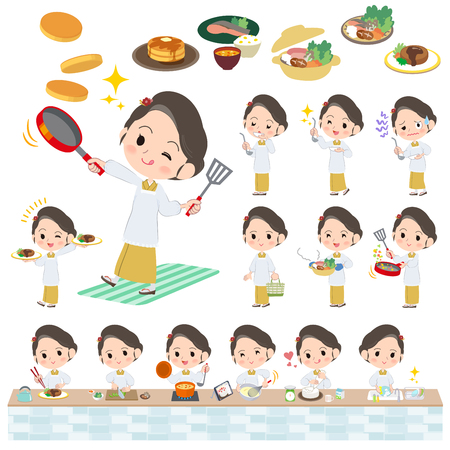 hot woman: Set of various poses of kimono Yellow ocher woman cooking