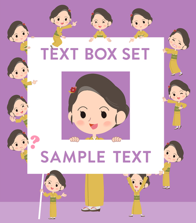 fingering: Set of various poses of kimono Yellow ocher woman text box