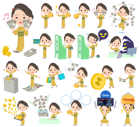 Set of various poses of kimono Yellow ocher woman money