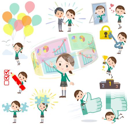 Set of various poses of school girl Green Blazer success & positive Illustration