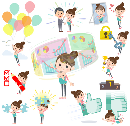Set of various poses of Mother and baby success & positive Illustration