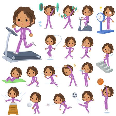 sports girl: Set of various poses of Schoolgirl Black school girl  purple jersey Sports & exercise