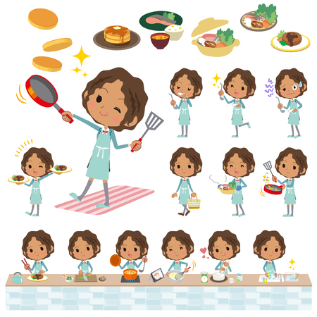 Set of various poses of Black school girl cooking