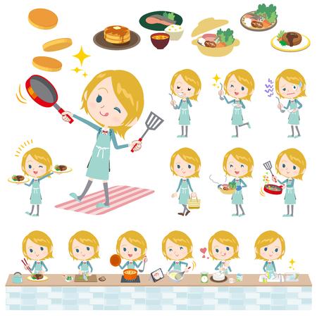 Set of various poses of Schoolgirl Caucasian cooking
