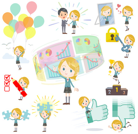 sns: Set of various poses of Schoolgirl Caucasian success & positive Illustration
