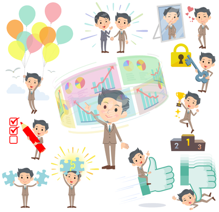 Set of various poses of Beige suit short hair beard man success & positive Illustration