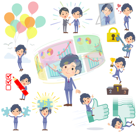office worker: Set of various poses of Stripe suit perm hair man success & positive Illustration